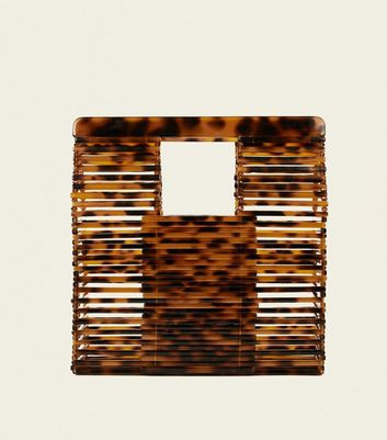 Brown Faux Tortoiseshell Slatted Tote Bag