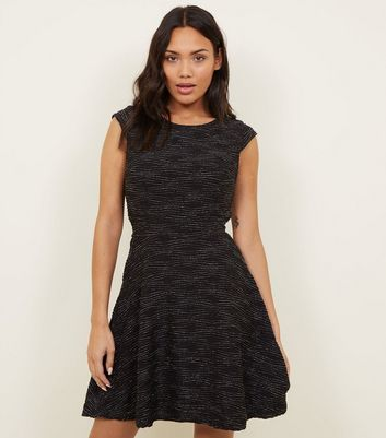 Mela Black Textured Glitter Stripe Dress