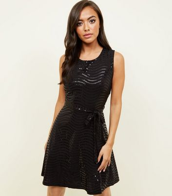 Mela Black Sequin Skater Dress