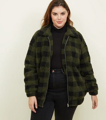 Curves Khaki Check Teddy Bomber Jacket