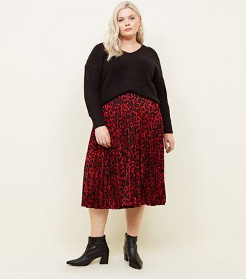 Curves Red Leopard Print Pleated Midi Skirt