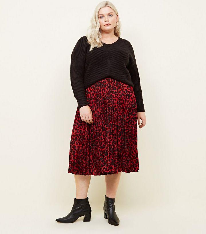 c7422f56bd Curves Red Leopard Print Pleated Midi Skirt | New Look