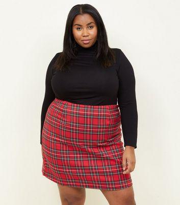 Curves Red Tartan A-Line Mini Skirt New Look