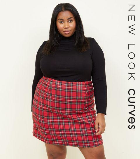 69f3000fa8e48 ... Curves Red Tartan A-Line Mini Skirt ...
