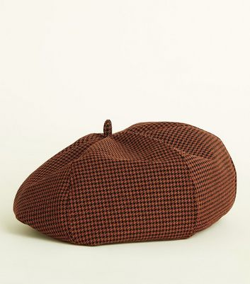 Rust Houndstooth Check Beret