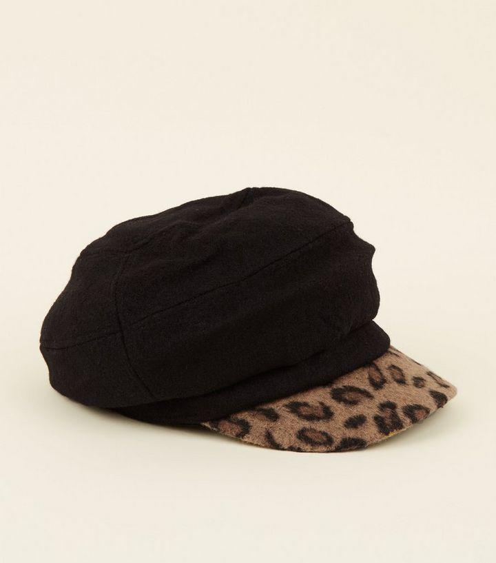 Black Leopard Print Peak Baker Boy Hat  09e45115f28
