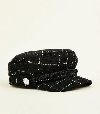 Black Glitter Check Rope Front Bakerboy Hat