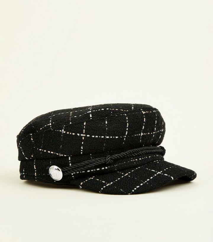 Black Glitter Check Rope Front Baker Boy Hat  182b98ec96a