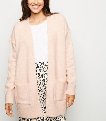 Pink Pocket Front Knitted Longline Cardigan