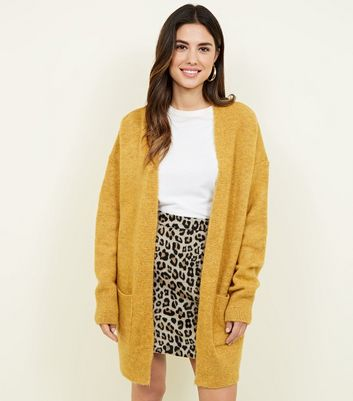 Mustard Pocket Front Knitted Front Cardigan
