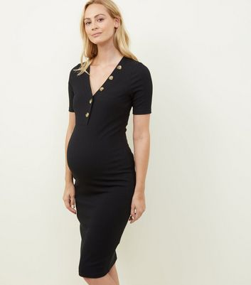 Maternity Black Rib Button Neckline Midi Dress