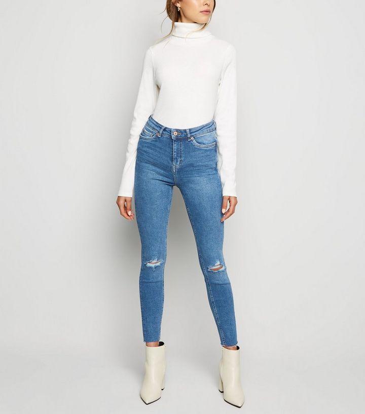 a3985c89da63 Jean super skinny Hallie bleu déchiré taille haute