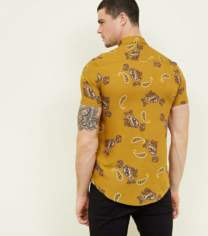 9200af83738 ... Mustard Paisley Print Short Sleeve Shirt. ×. ×. ×. Shop the look
