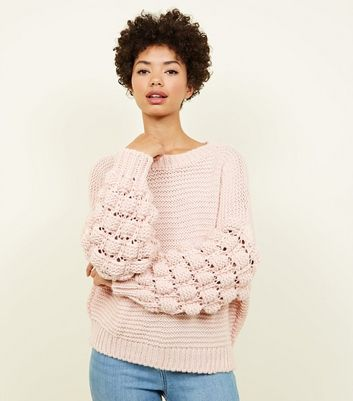 Cameo Rose Pale Pink Bubble Sleeve Jumper