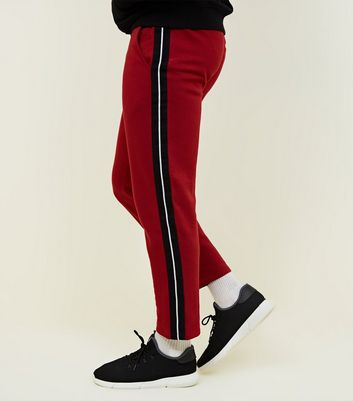 Dark Red Side Black Tape Joggers