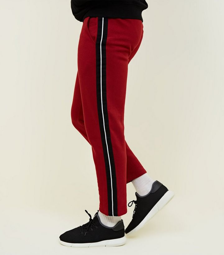 ee286347a24 Dark Red Side Black Tape Joggers