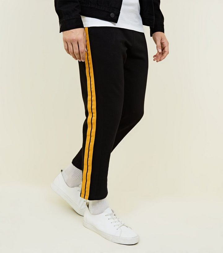 2cfcc430dff Black Side Yellow Tape Joggers