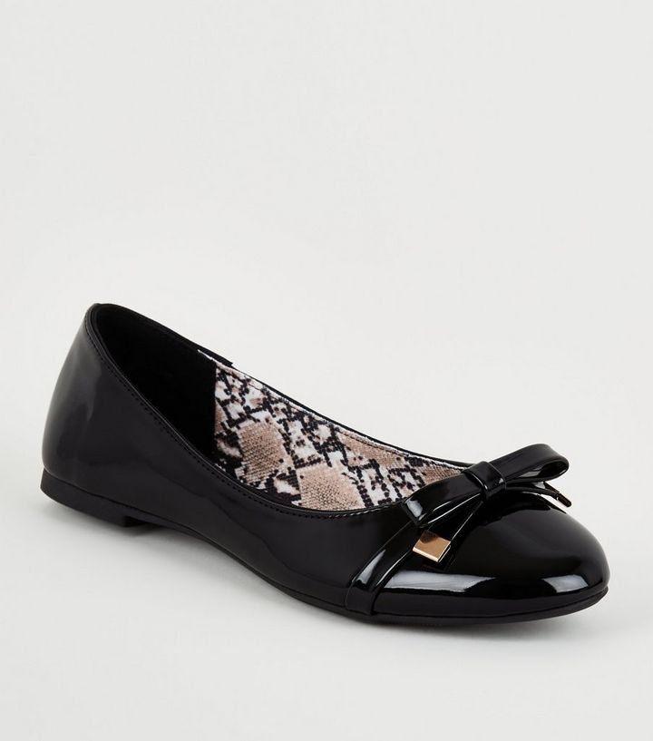 aded68d9a1a Black Snake Print Insole Bow Ballet Pumps