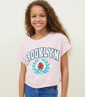 Girls Pink Brooklyn Crest Logo T-Shirt