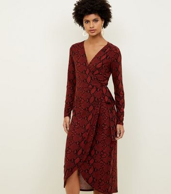 Red Snake Print Soft Touch Wrap Dress
