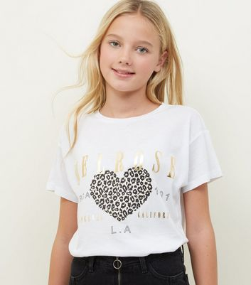 Girls White Melrose Leopard Heart Print T-Shirt