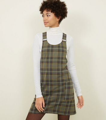 Khaki Check Buckle Strap Pinafore Dress