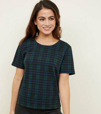 Petite Black Jersey Check T-Shirt