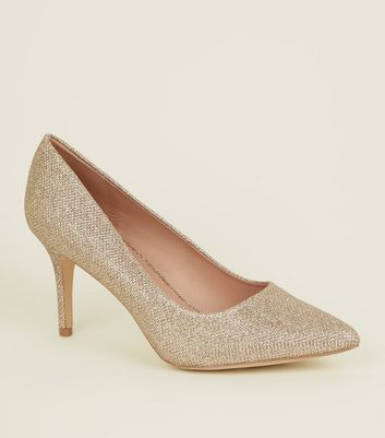 Gold Glitter Pointed Stiletto Heel Courts