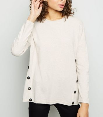 Cream Button Side Brushed Batwing Top