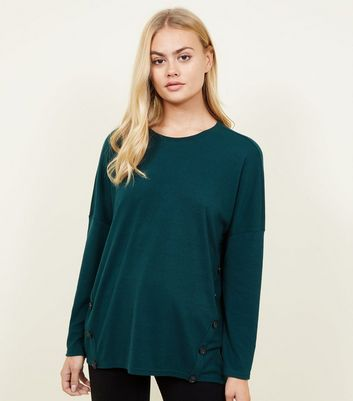 Dark Green Button Side Brushed Batwing Top