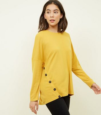 Mustard Button Side Brushed Batwing Top