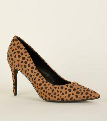 Brown Animal Print Pointed Court Shoes
