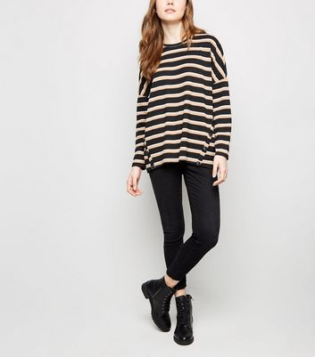 Brown Stripe Button Hem Brushed Top