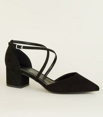 Wide Fit Black Soft Suedette Cross Strap Heels
