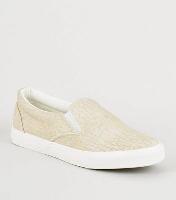 Off White Faux Croc Slip On Trainers