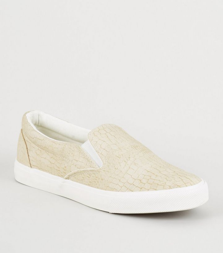 bd9a69502569 Off White Faux Croc Slip On Trainers | New Look