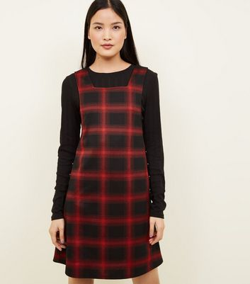 Black Check Button Side Pinafore Dress