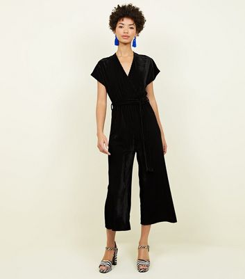 Black Ribbed Velvet Wrap Culotte Jumpsuit