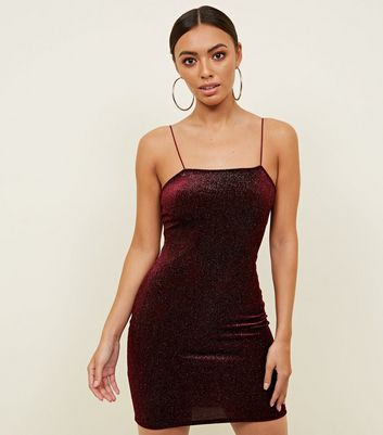 Burgundy Velvet Square Neck Bodycon Dress