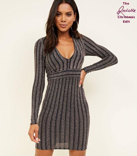 black glitter stripe long sleeve bodycon dress - Black Christmas Dress