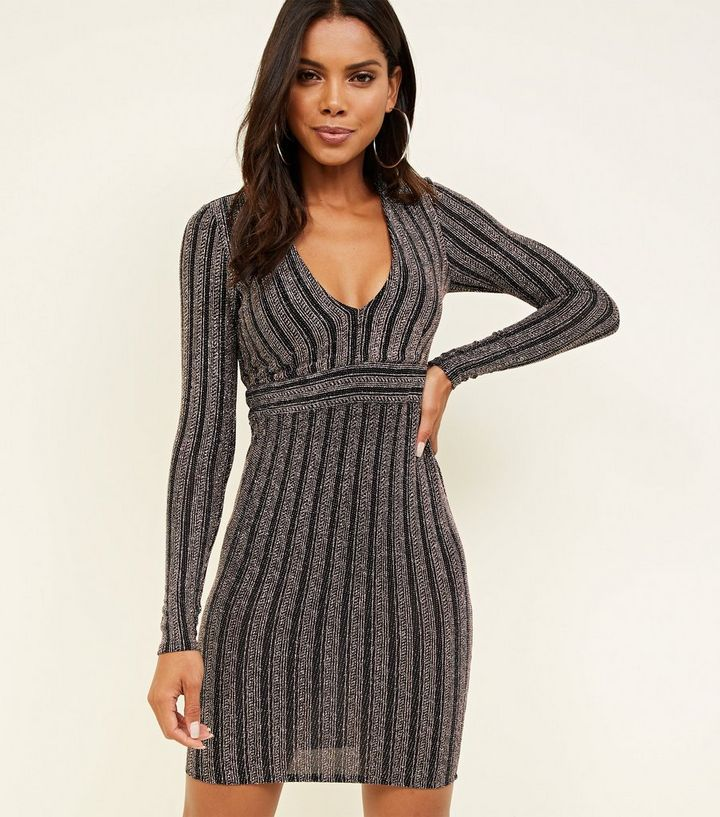 26a70a22830f Black Glitter Stripe Long Sleeve Bodycon Dress | New Look