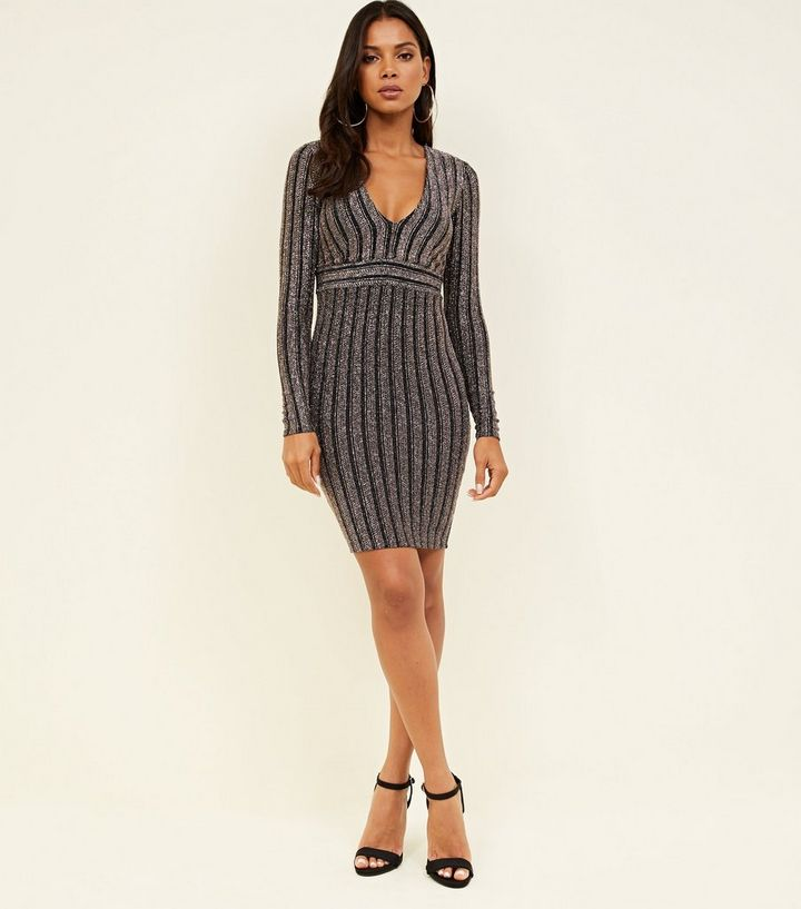 2173193ebe Black Glitter Stripe Long Sleeve Bodycon Dress Add to Saved Items Remove  from Saved Items