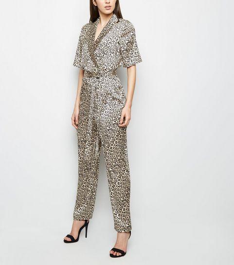 0c85c10664b8 ... Gold Leopard Print Satin Wrap Jumpsuit ...