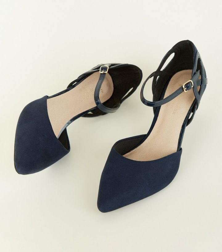 9325ccaae210 ... Shoes · Wide Fit Navy Comfort Flex Cut Out Kitten Heels. ×. ×. ×. Shop  the look