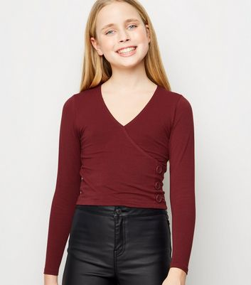 Girls Burgundy Long Sleeve Button Side Top