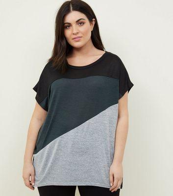 Blue Vanilla Curves Black Colour Block T-Shirt New Look