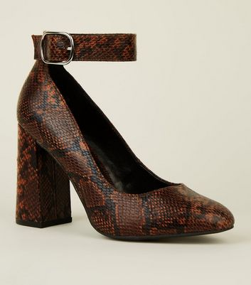 Wide Fit Brown Faux Snake Ankle Strap Flared Heels