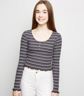 Girls Pink Stripe Long Sleeve T-Shirt