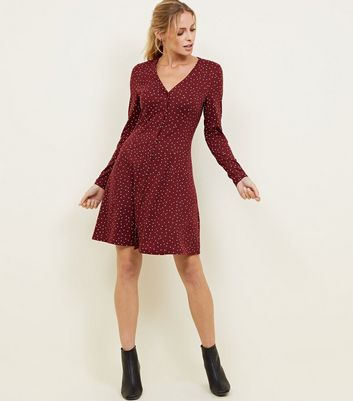 Burgundy Sport Print Long Sleeve Tea Dress