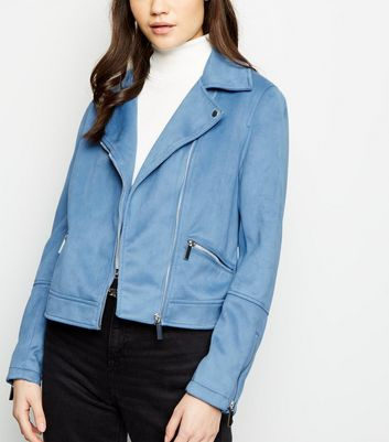 Bright Blue Suedette Biker Jacket